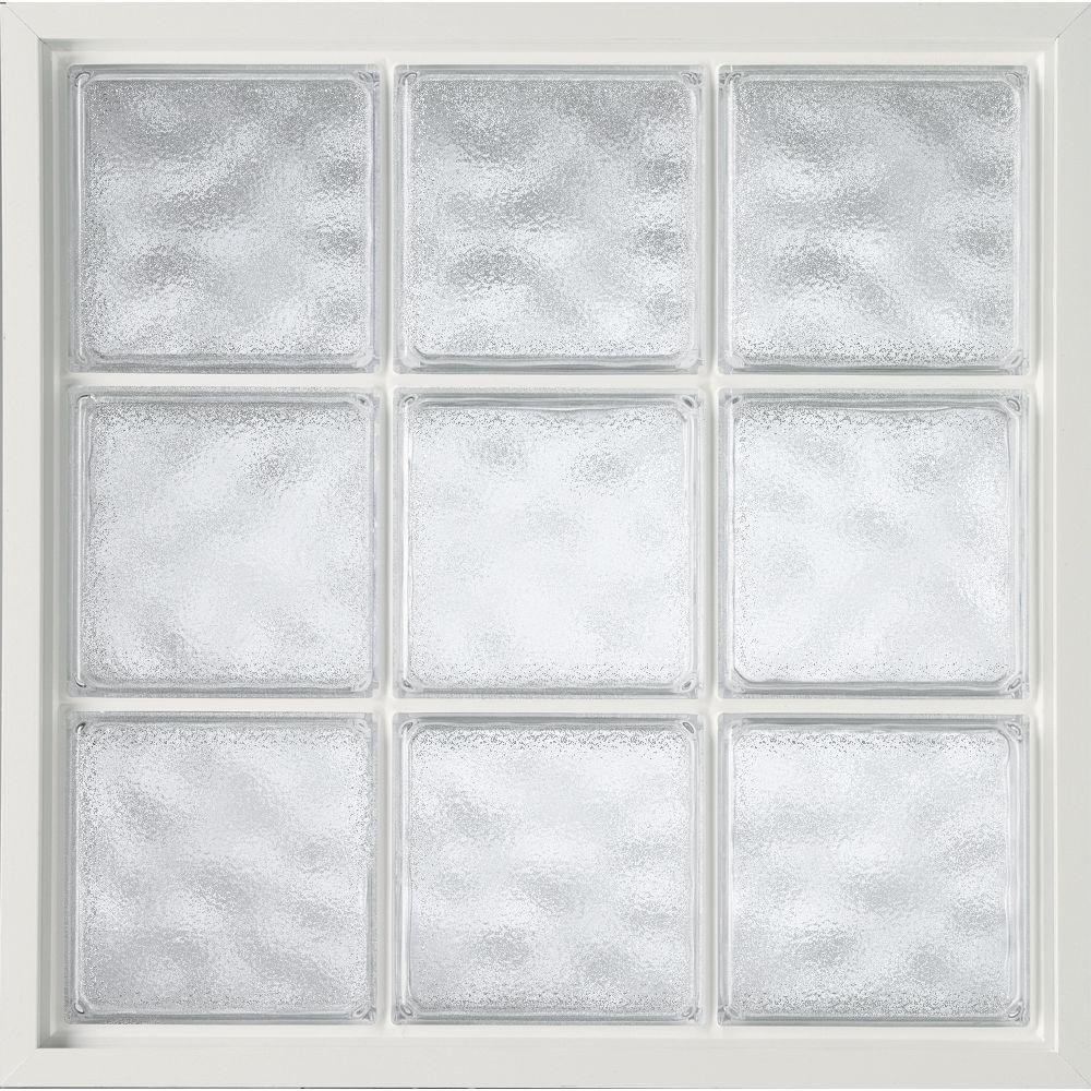 Hy-Lite 34 in. x 34 in. Acrylic Block Fixed Vinyl Window - White