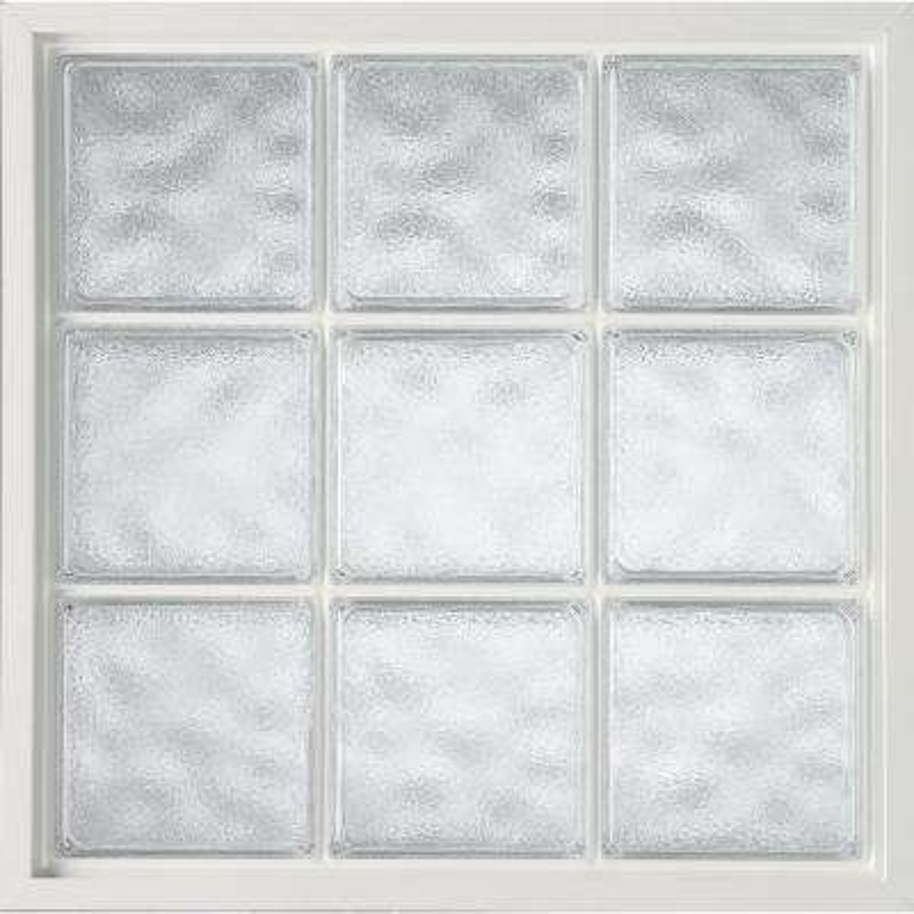 34 in. x 34 in. Acrylic Block Fixed Vinyl Glass Block Window in White