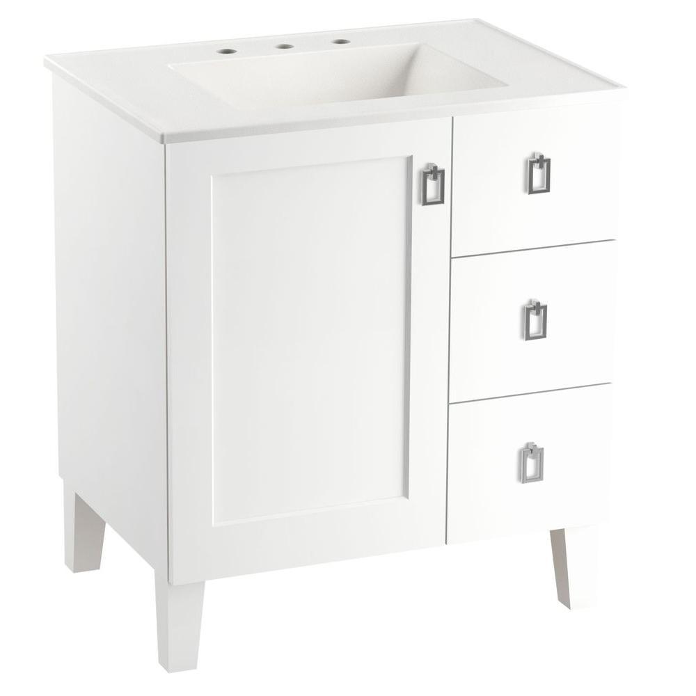 KOHLER-Poplin 30 in. Vanity in Linen White with Vitreous China Vanity Top in White