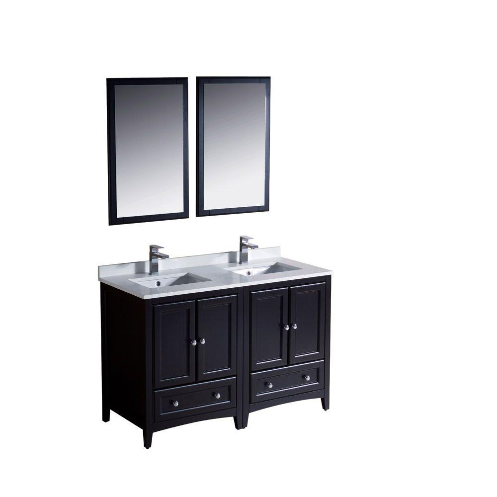 Fresca Oxford 48 in. Double Vanity in Espresso with Ceramic Vanity Top in White with White Basins and Mirror
