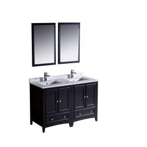 Fresca Oxford 48 inch Double Vanity in Espresso with Ceramic Vanity Top in White with White Basins and Mirror by Fresca