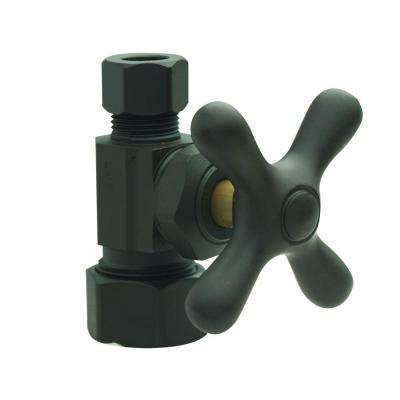 1/2 in. Nom Comp Inlet x 3/8 in. O.D. Comp Outlet Multi-Turn Straight Valve with Cross Handle in Oil Rubbed Bronze