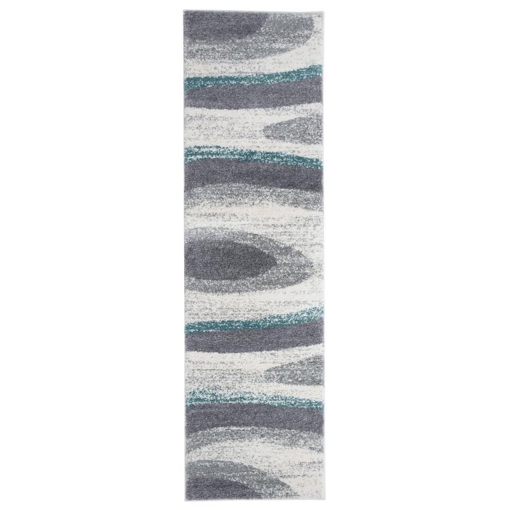 Modern Abstract Ultra Soft Shag Blue 2 ft. x 7 ft. Runner Rug