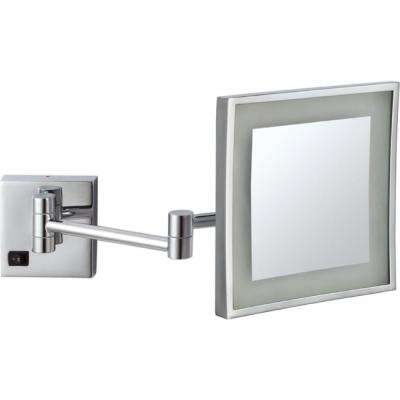 Glimmer 8 in. x 8 in. Wall Mounted LED 3x Square Makeup Mirror in Chrome Finish
