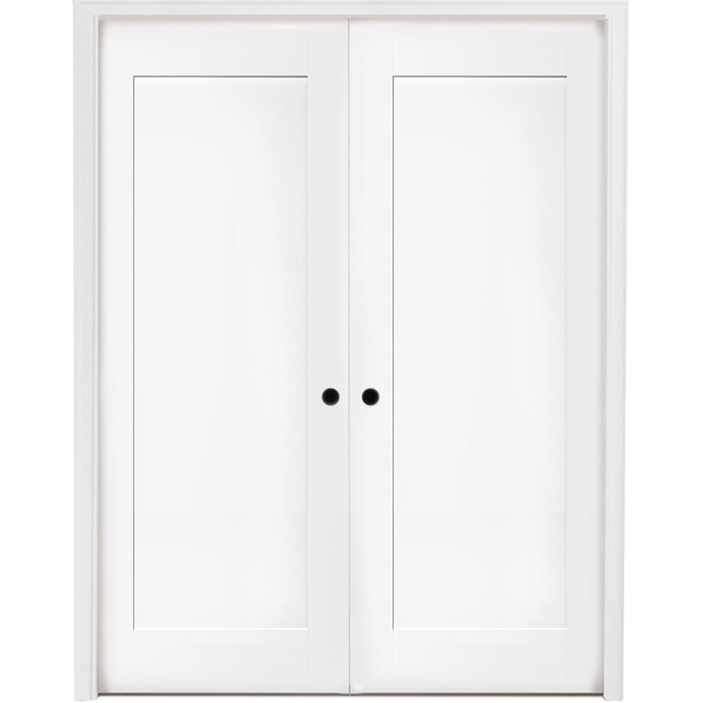 48 in. x 80 in. 1-Panel Primed White Shaker Solid Core