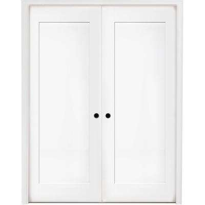 48 in. x 80 in. 1-Panel Primed White Shaker Solid Core Wood Double Prehung Interior Door with Nickel Hinges