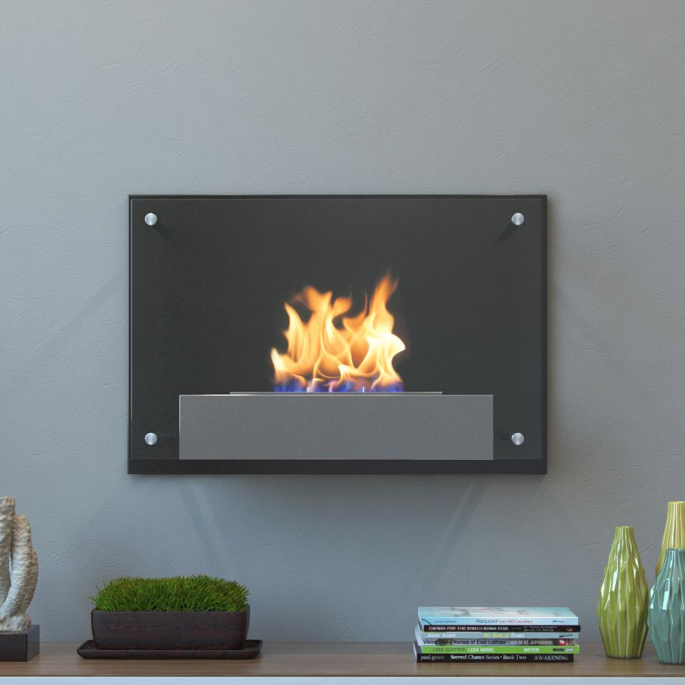 moda flame epila 24 in wall mounted ethanol fireplace in black rh homedepot com Fireplace TV Stands Home Depot Fireplace TV Stands Home Depot