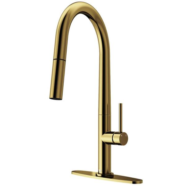 Greenwich Single-Handle Pull-Down Sprayer Kitchen Faucet with Deck Plate in Matte Gold