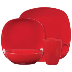 ESSENTIAL HOME Canby Park 16 Piece Red Dinnerware Set by ESSENTIAL HOME