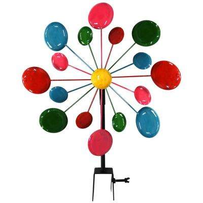 Multi-Color Metal Circles Windmill with Stake and Fence Topper