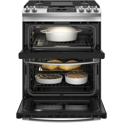 30 in. 6.7 cu. ft. Slide-In Double Oven Gas Range with Steam-Cleaning Oven in Stainless Steel