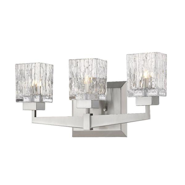 22 in. 3-Light Brushed Nickel Vanity Light with Clear Glass
