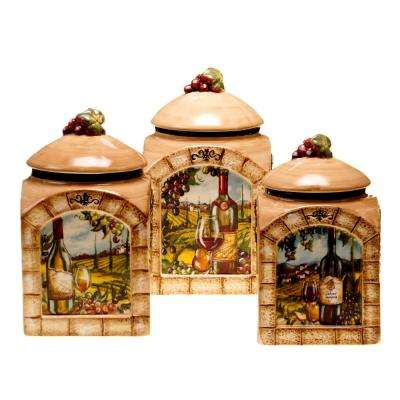 Tuscan View 3-Piece Earthenware Canister Set