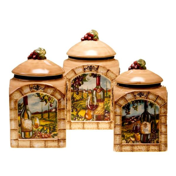 Certified International Tuscan View 3-Piece Earthenware Canister Set