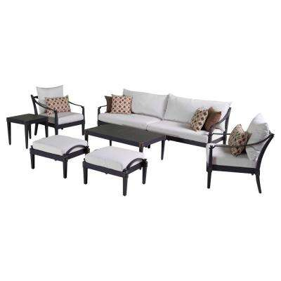 Astoria 8-Piece Patio Sofa and Club Chair Deep Seating Group with Moroccan Cream Cushions