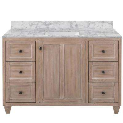 Banks 49 in. W x 22 in. D Bath Vanity in Antique Ash with Marble Vanity Top in Carrara with White Sink