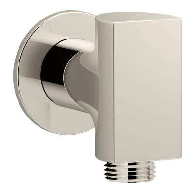 Exhale 1/2 in. Metal 90-Degree NPT Wall-Mount Supply Elbow with Check Valve in Vibrant Polished Nickel