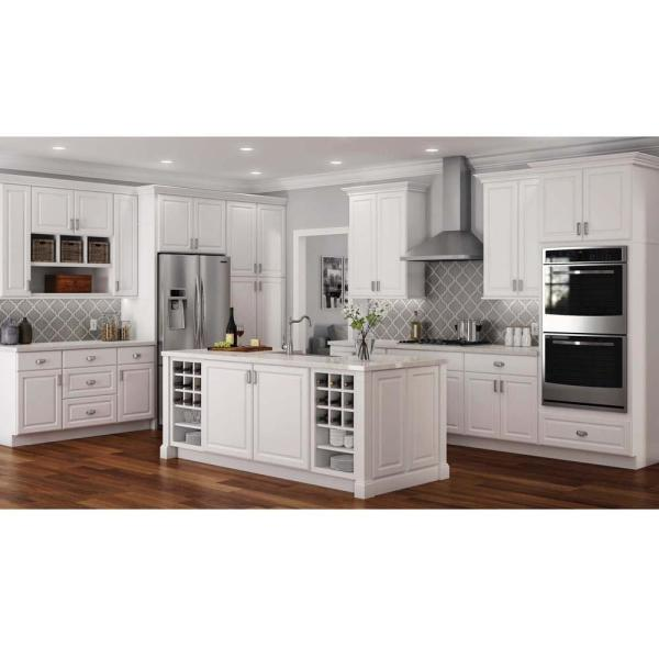 Hampton Bay Hampton Partially Assembled 36 X 34 5 X 24 In Corner Sink Base Kitchen Cabinet In Satin White Kcsb36 Sw The Home Depot