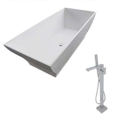 Crema 70.8 in. Man-Made Stone Classic Flatbottom Non-Whirlpool Bathtub in Matte White and Dawn Faucet in Chrome