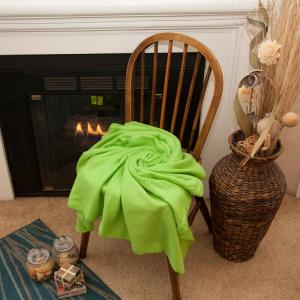 50 in. x 60 in. Lime Green Super Soft Fleece Throw Blanket (Set of 24)