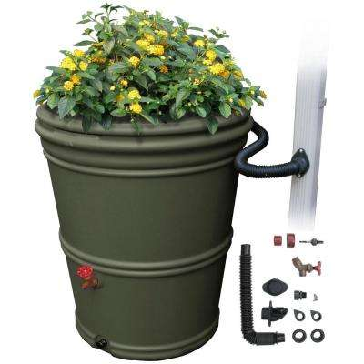 RainStation 65 gal. Rain Barrel with Diverter in Moss color