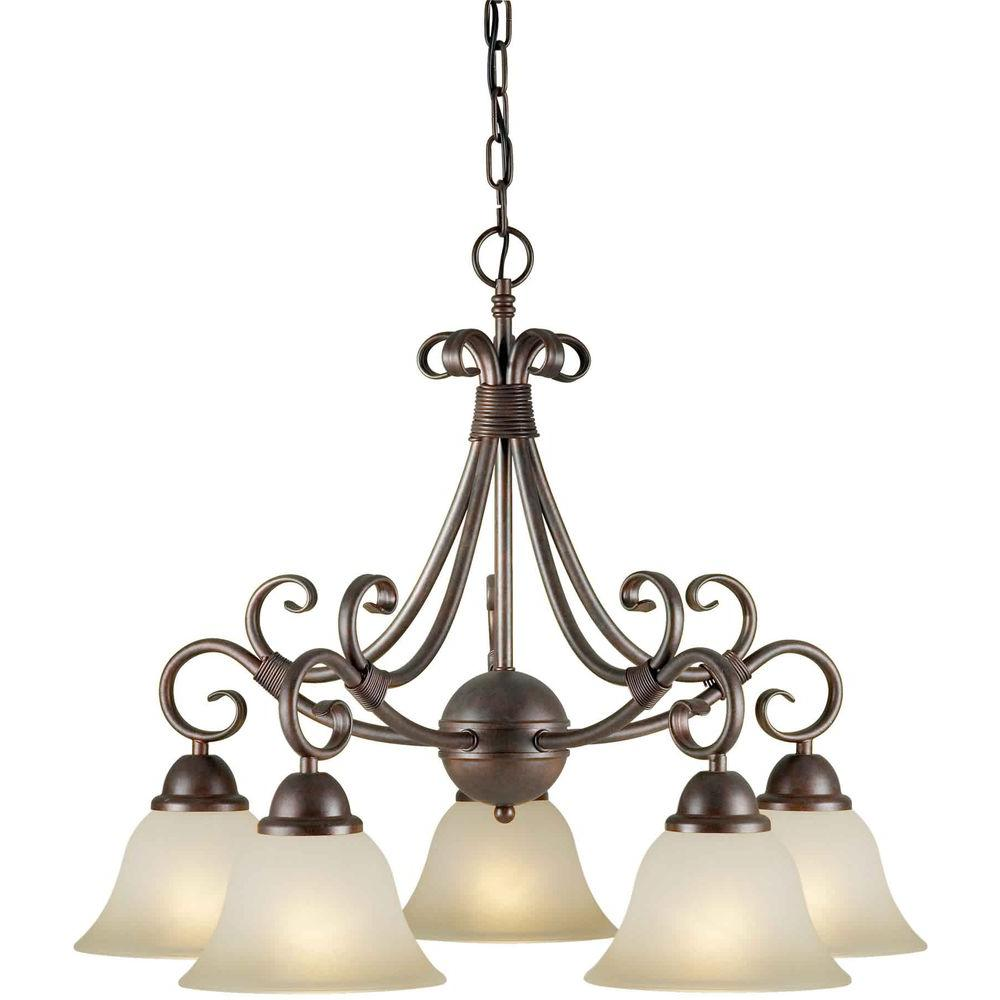 Talista 5-Light Black Cherry Chandelier with Shaded Umber Glass