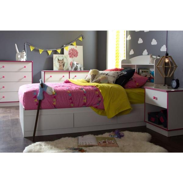 South Shore Logik 1-Drawer Pure White and Pink Nightstand 9039062