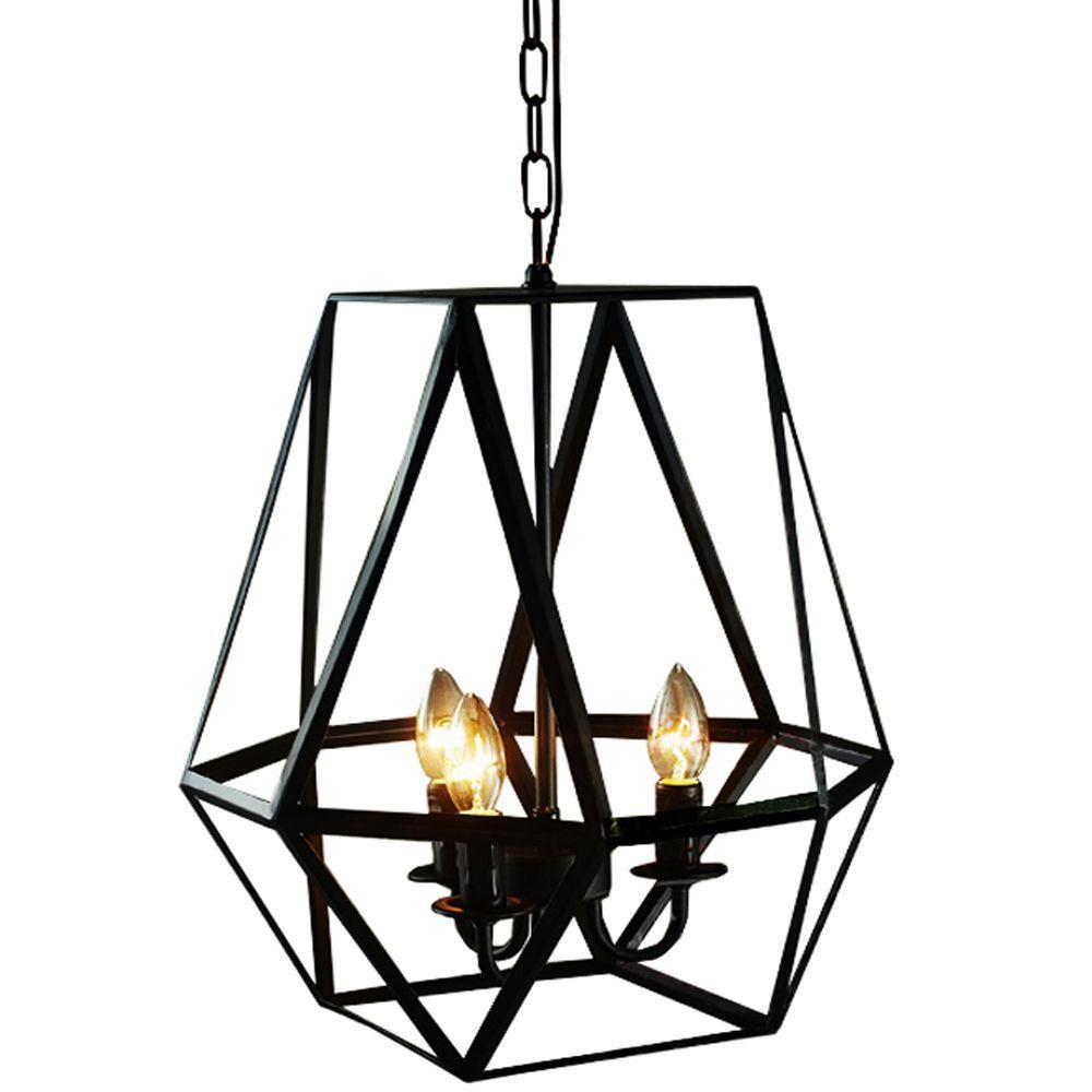 Edison Shan Collection 3 Light Antique Bronze Indoor Geometric Chandelier