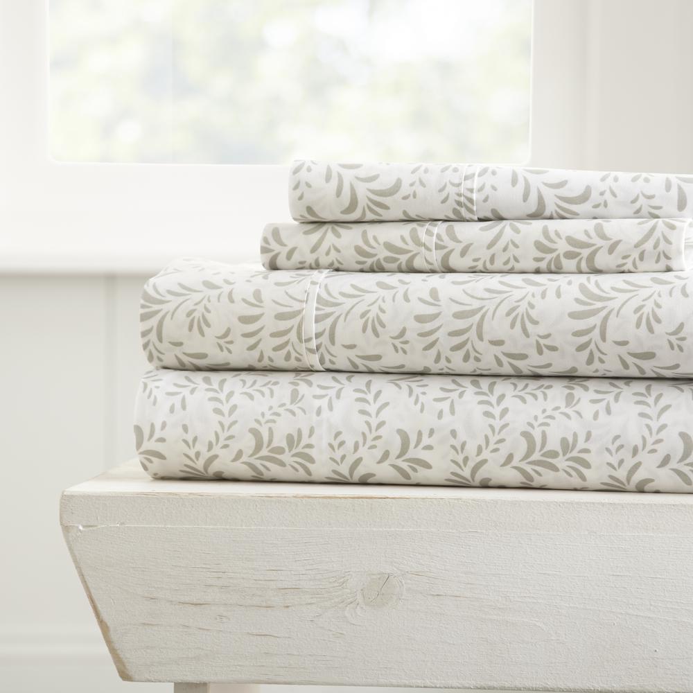 Home Collection 4-Piece Gray Floral Microfiber California King Sheet Set