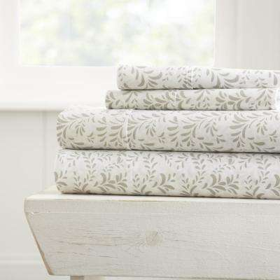 Burst of Vines Patterned 4-Piece Gray Queen Performance Bed Sheet Set