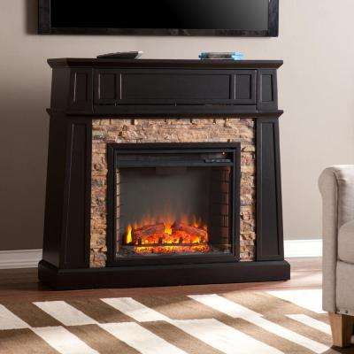 Buffalo 44.25 in. Faux Stone Media Electric Fireplace TV Stand in Black