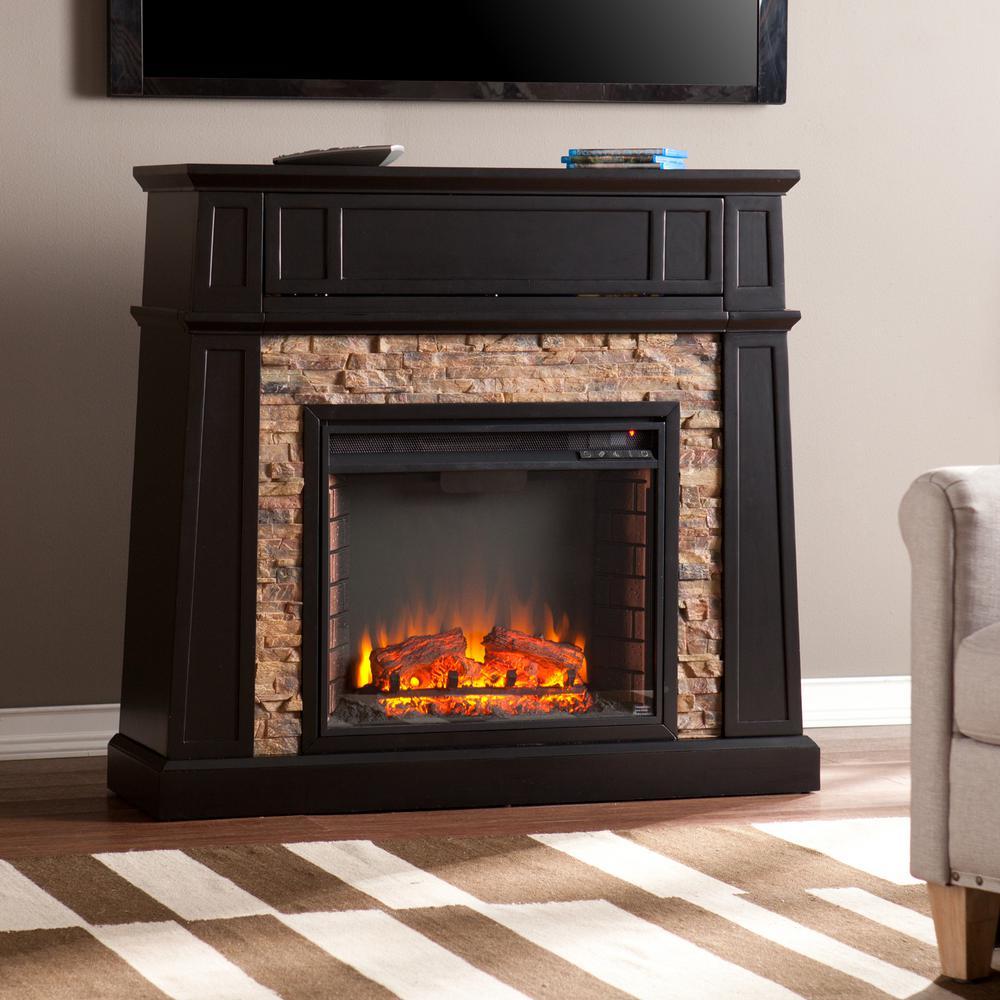 Buffalo 44.25 in. W Faux Stone Electric Media Fireplace in Black