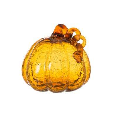 6.69 in. H Pumpkin Crackle Glass in Amber