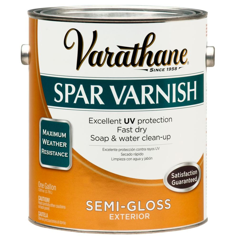 Varathane 1 Gal Clear Semi Gloss Water Based Exterior Spar Varnish Case Of 2 266324 The