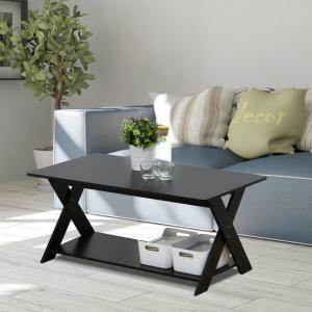 Modern Simplistic Espresso Criss-Crossed Coffee Table