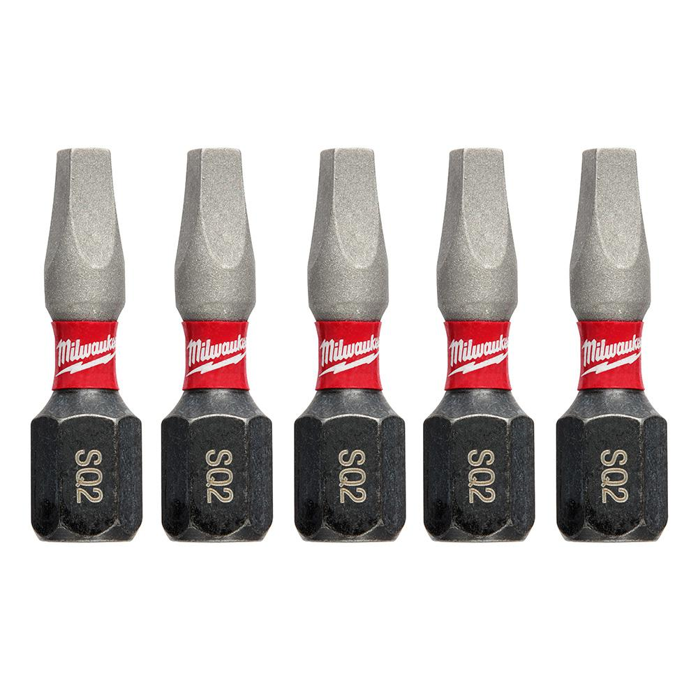 Milwaukee 1 in. #2 Square Recess Shockwave Impact Duty Steel Insert Bits (5-Pack)