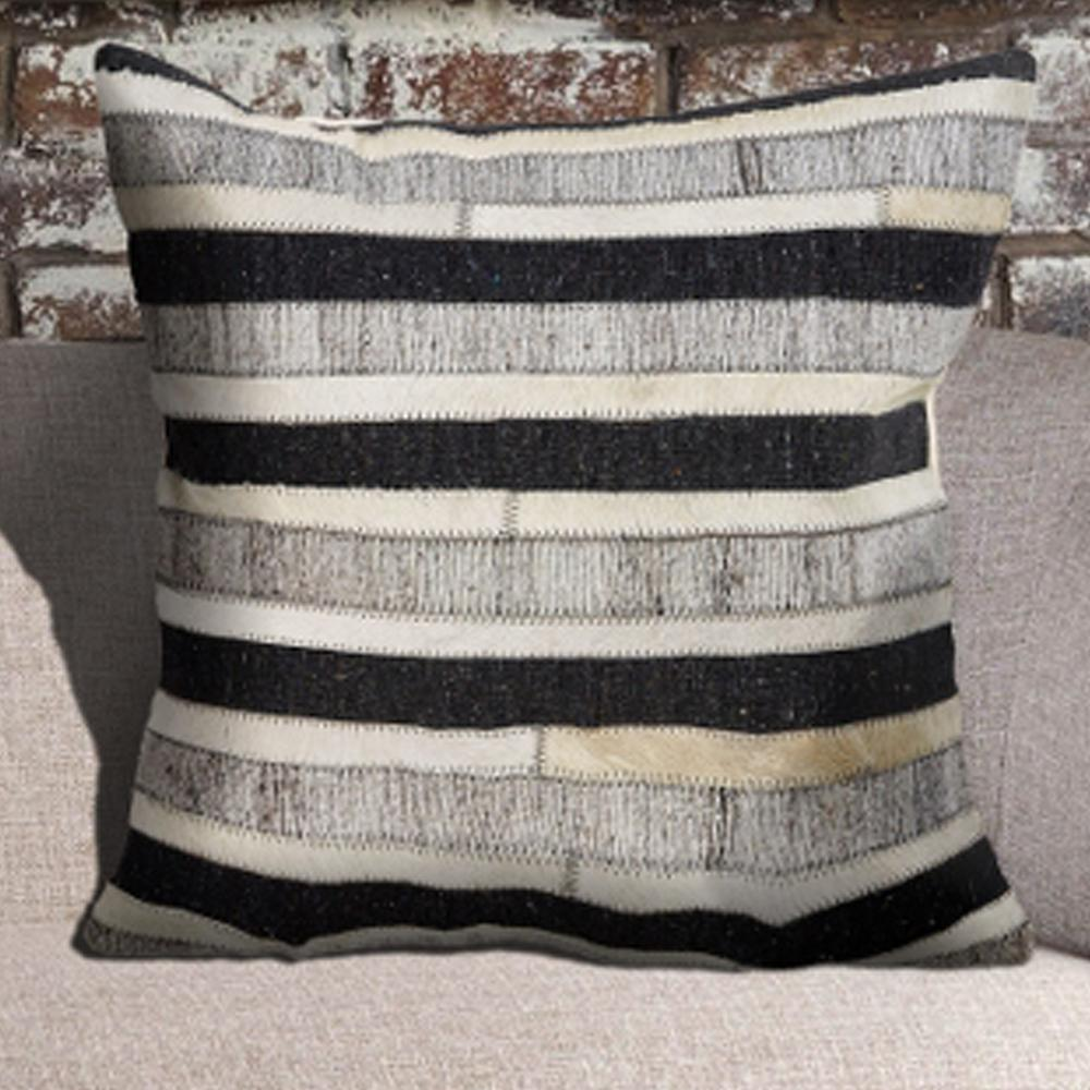 Homestead Gaucho Stripe Charcoal and Beige 20 in. x 20 in.