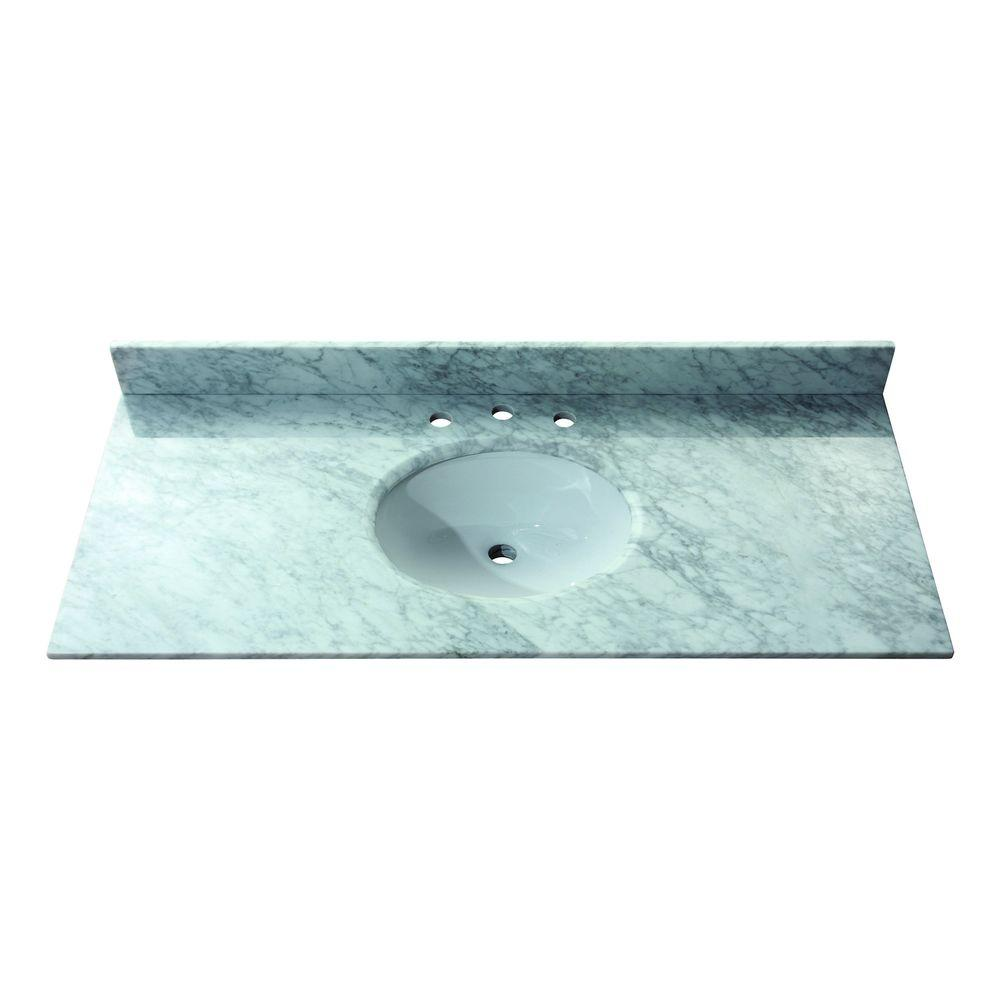 Avanity 49 in. Marble Stone Vanity Top in Carrara White without Basin