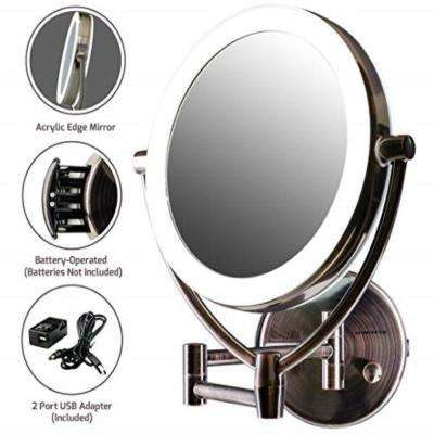 Wall Mount Mirror, LED Lighted, Battery or Cord Operated, 1x/10x Magnification
