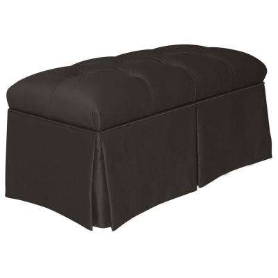 Pippa Black Shantung Skirted Storage Bench