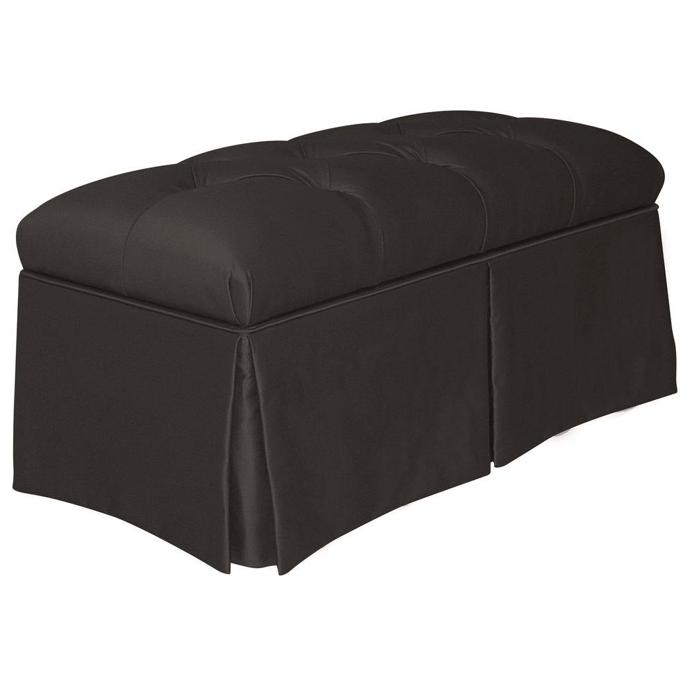 Home Decorators Collection Pippa Black Shantung Skirted Storage Bench