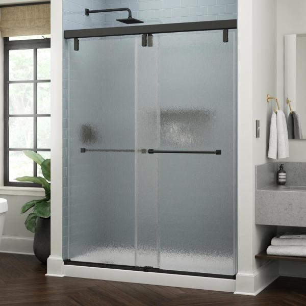 Everly 60 in. x 71-1/2 in. Frameless Mod Soft-Close Sliding Shower Door in Matte Black with 3/8 in. (10 mm) Rain Glass
