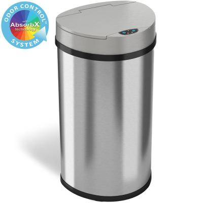 13 Gal. Stainless Steel Semi-Round Touchless Trash Can with AbsorbX Odor Control System, Extra-Wide Opening Lid