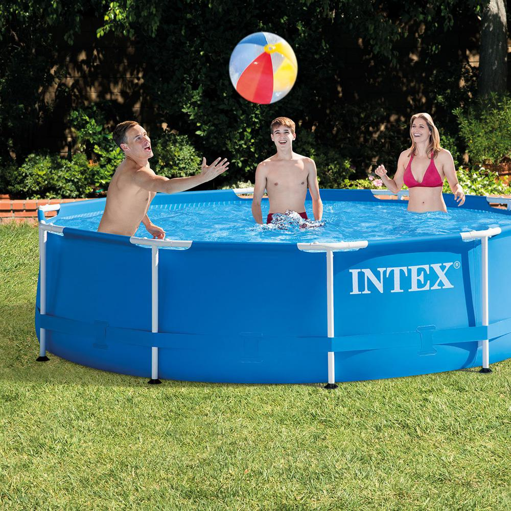 Intex Intex 10 ft. x 2.5 ft. Round Metal Frame Backyard Above Ground  Swimming Pool (Frame Only)
