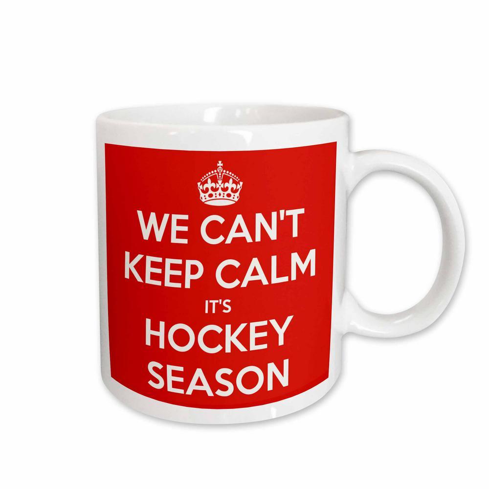 d7c262194 3dRose Evadane Funny Quotes We Cant Keep Calm Its Hockey Season Red and  White 11 oz. White Ceramic Coffee Mug-mug_171922_1 - The Home Depot