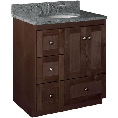 Shaker 30 in. W x 21 in. D x 34.5 in. H Vanity with Left Drawers Cabinet Only in Dark Alder