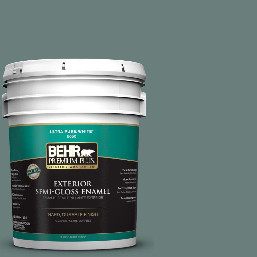 BEHR Premium Plus 5-gal. #N430-5 Aspen Valley Semi-Gloss Enamel Exterior Paint