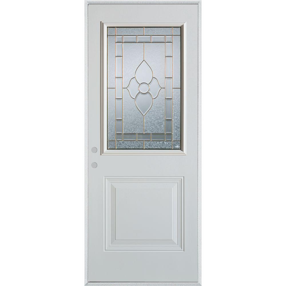 Stanley Doors 37.375 in. x 82.375 in. Traditional Brass 1/2 Lite 1-Panel Prefinished White Right-Hand Inswing Steel Prehung Front Door
