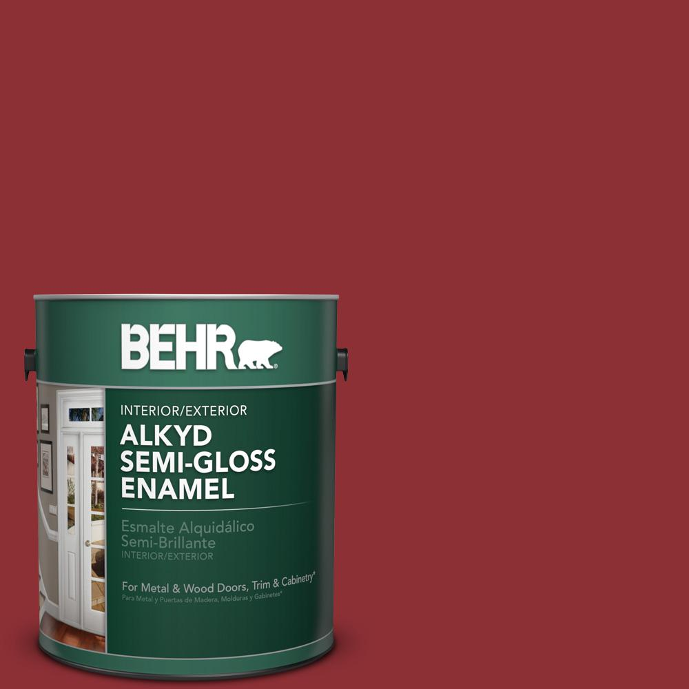 1 gal. #BXC-27 Carriage Red Semi-Gloss Enamel Alkyd Interior/Exterior Paint
