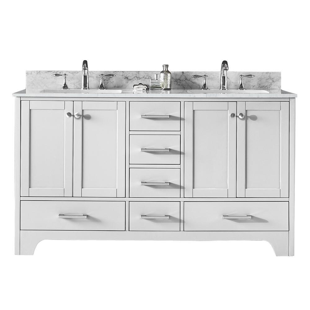 Clariette 60 in. W x 22 in. D x 34.21 in. H Bath Vanity in White with Marble Vanity Top in White with White Basins